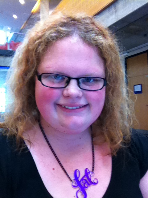 A selfie (I threw up in my mouth a little when I typed that word) from about two years ago. The fat necklace is proudly visible.